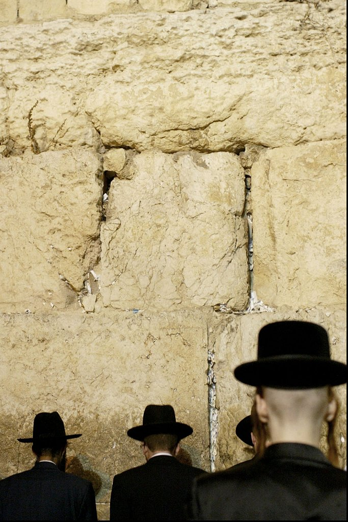Havdala Ceremony, Jews in Sabbath. Western Wall in Jerusalem